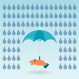 Umbrella in hand. Under the blue raindrops royalty free illustration