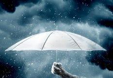 Umbrella in hand under raindrops Royalty Free Stock Photo