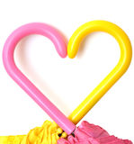 Umbrella handles are made in the form of heart Stock Photo