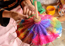The umbrella handmade. Photo The umbrella industry folk hand made ​​in bright colors festival umbrella, Chiang Mai, Thailand's annual tourism festival is Stock Photography
