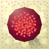 Umbrella and hearts Stock Photos