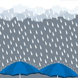 Umbrella heavy rain drop cloud vector Royalty Free Stock Photo