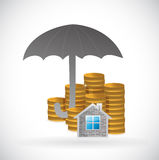 Umbrella and home and coins underneath. Royalty Free Stock Photos