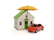Umbrella house and car vector illustration