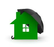 Umbrella and house symbol. You property in safety Stock Image