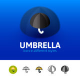 Umbrella icon in different style Royalty Free Stock Photos