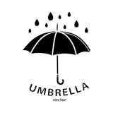 Umbrella icon, vector logo. Black umbrella silhouette Stock Image
