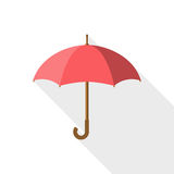 Umbrella icon vector. Rain protection on white background isolated with long shadow. Flat design style. For web design, mobile applications, and printing Royalty Free Stock Images