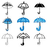 Umbrella icons set. Blue umbrella icons vector set royalty free illustration