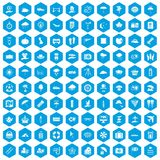 100 umbrella icons set blue. 100 umbrella icons set in blue hexagon isolated vector illustration Vector Illustration