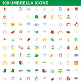 100 umbrella icons set, cartoon style. 100 umbrella icons set in cartoon style for any design vector illustration Stock Photos