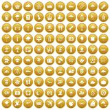 100 umbrella icons set gold. 100 umbrella icons set in gold circle isolated on white vector illustration Royalty Free Stock Images