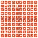 100 umbrella icons set grunge orange. 100 umbrella icons set in grunge style orange color on white background vector illustration stock illustration