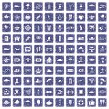 100 umbrella icons set grunge sapphire. 100 umbrella icons set in grunge style sapphire color isolated on white background vector illustration Stock Photos