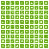100 umbrella icons set grunge green. 100 umbrella icons set in grunge style green color  on white background vector illustration Royalty Free Stock Photo