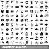 100 umbrella icons set, simple style. 100 umbrella icons set in simple style for any design vector illustration Royalty Free Stock Photos