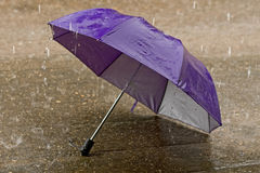 Umbrella at intense rainy weather Royalty Free Stock Photo