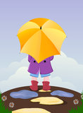 Umbrella kid. Back view of kid with umbrella outside after the rain Royalty Free Stock Photos