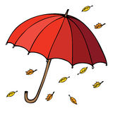 Umbrella with leaves Stock Image