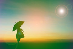 Umbrella little girl stand Royalty Free Stock Photo
