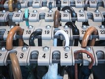 Umbrella Locker in rows with numbers Public service. Umbrella Locker in rows with numbers Public building service Deposit space with key lock pad stock photography