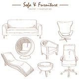 Furniture collection sketch drawing vector Royalty Free Stock Photography