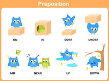 Preposition of motion for preschool. Worksheet Royalty Free Stock Images