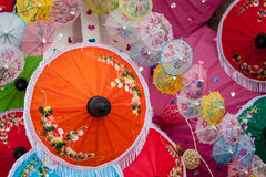 Umbrella made of paper / cloth Arts and crafts of the vill Stock Photo