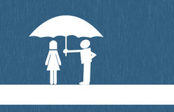 Umbrella. Man protect women Stock Images
