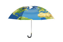 Umbrella with map of planet Earth, 3D rendering Stock Images
