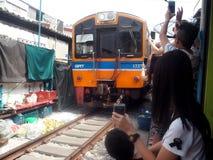 Umbrella Market Maeklong Railway Market Stock Photo