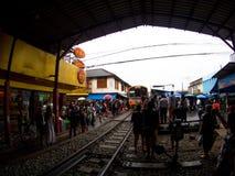 Umbrella Market Maeklong Railway Market Thailand Royalty Free Stock Photo