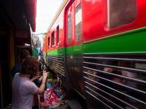 Umbrella Market Maeklong Railway Market Thailand Stock Photos