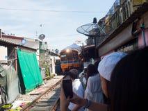 Umbrella Market Maeklong Railway Market Thailand Royalty Free Stock Image