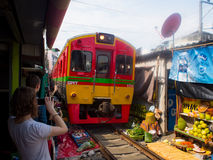 Umbrella Market Maeklong Railway Market Thailand Stock Photography