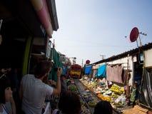 Umbrella Market Maeklong Railway Market Thailand Royalty Free Stock Photos