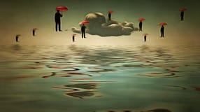 Umbrella men hover in sky Stock Photo