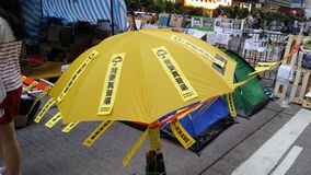 Umbrella message board in Nathan Road Occupy Mong Kok 2014 Hong Kong protests Umbrella Revolution Occupy Central Stock Images