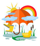 Umbrella. Miscellaneous attributes of rainy day which could be nice: bright umbrella, clouds, rubber boots, puddles and rainbow Stock Images