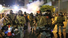 Umbrella Movement in Hong Kong. The Occupy Central movement start on 28 Sep 2014, announced the beginning of Occupy Central at the Central Government Complex at stock video footage