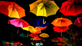 Umbrella. Multicolor Umbrella in The Dark Sky Royalty Free Stock Images