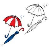 Umbrella opened closed. Rain weather drop protect Royalty Free Stock Photo