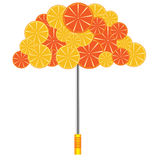Umbrella with oranges and grapefruits Royalty Free Stock Images