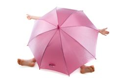 Umbrella over child Royalty Free Stock Images