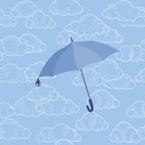 Umbrella over cloudy sky. Clouds seamless pattern April weather background. Royalty Free Stock Photo