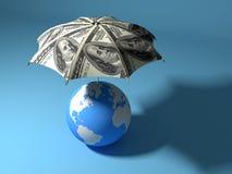 Umbrella over the globe Stock Photos