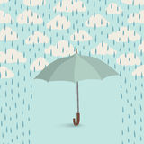 Umbrella over rain. Rainy cloudy sky pattern. Autumn, spring background Stock Images
