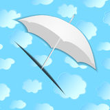 Umbrella from paper against the background of with clouds. Vector illustration Stock Images