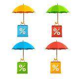 Umbrella with Paper Bag Sale Labels Set. Vector Royalty Free Stock Image