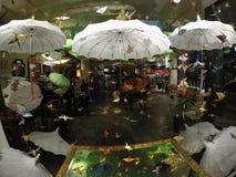 Umbrella paradise with flying origami birds. royalty free stock photo